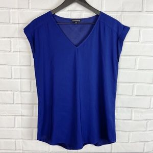 Express blue v-neck dressy blouse top medium M